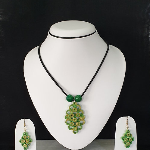 Lime Green Simple Set With Matching Earrings