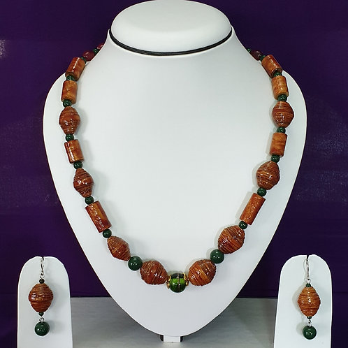 Brown & Green Medium Set with Matching Earrings