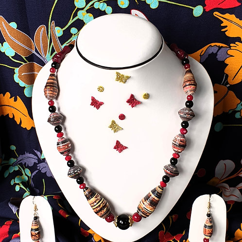 Neck piece set of multi colour beads with matching ear rings