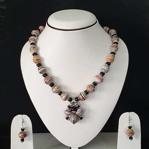 Neck Piece Set of Round Beads with Matching Earrings