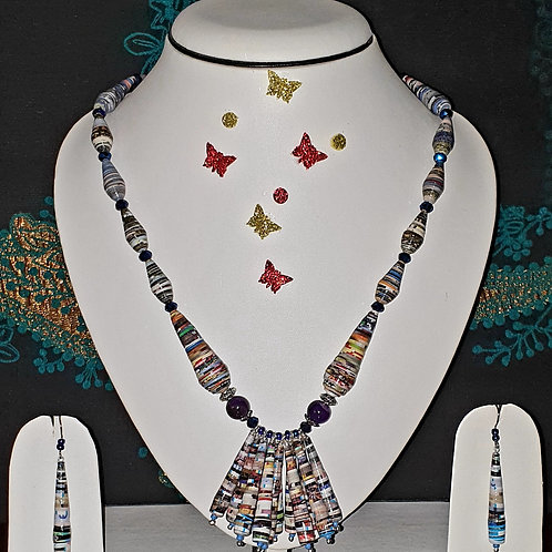 Neck piece set of cone type beads and cluster pendant with matching ear rings