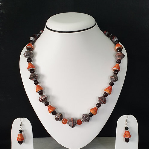 Neck Piece Set of Cone and Bi-cone Shaped Beads with Matching Earrings