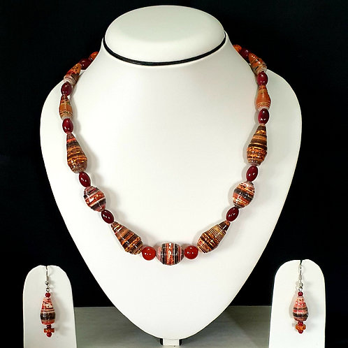 Cherry Red and Brown Overtones Short Set with Matching Earrings