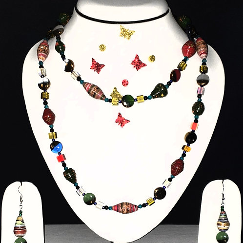Neck piece set of multiclour and multi design beads  with matching ear rings