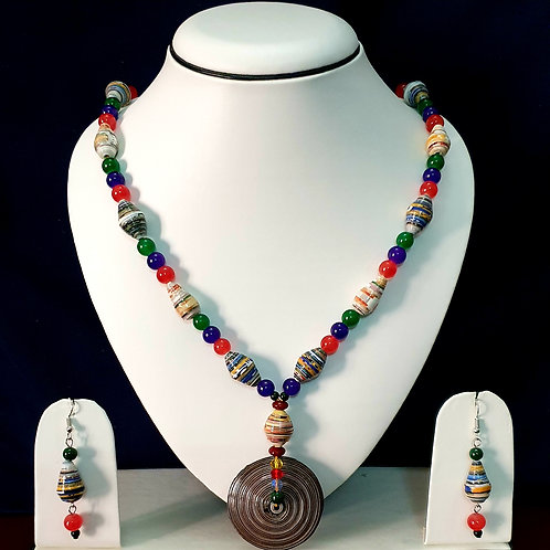 Multi Colored Beads with Large Brown Pendant