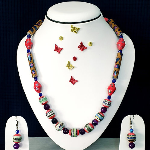 Neck piece set of multicolour mix beads  with matching ear rings