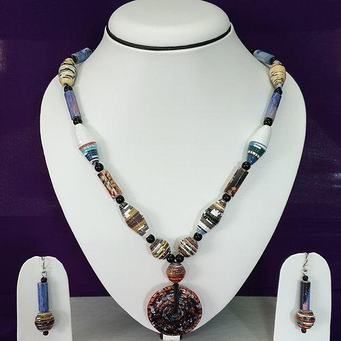 Sauve Long Beads Set with Large Disk Pendant