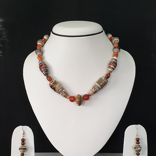 Red and Brown Overtones Short Set with Earrings