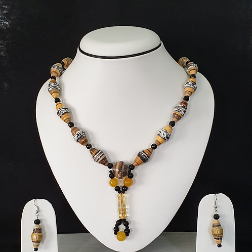 Yellow Drop Beads Set with Matching Earrings
