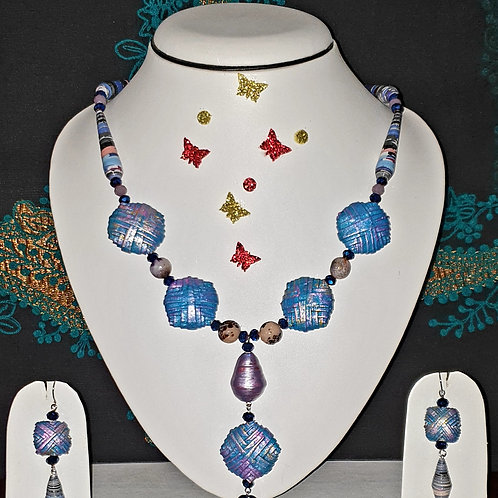 Neck piece set of blue crystal and cone beads with matching ear rings