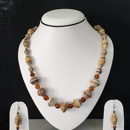Light Brown Colored Round & Oval Shaped Beads with Matching Earrings