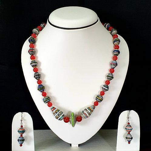 Cherry Red Overtone Long Round Beads Set