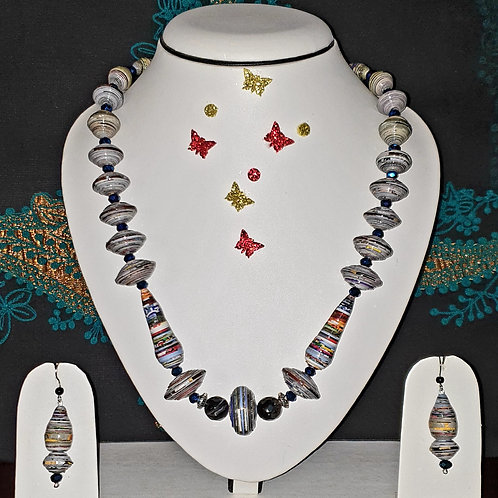 Neck piece set of disk type beads with matching ear rings