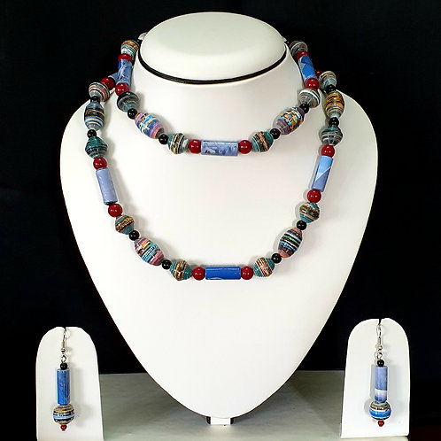 Indigo blue tone Two layer Set with Matching Earrings
