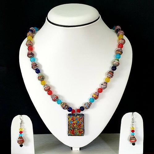 Multi Colored Round Beads with Flat Pendant Medium Set