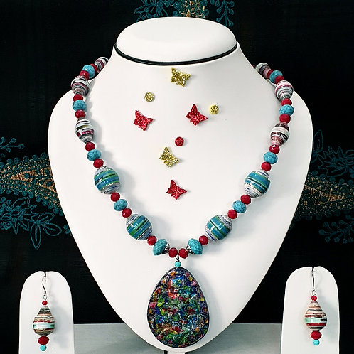 Neck piece set of blue and red beads with matching ear rings