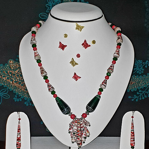 Neck piece set of multicolour cluster beads pendant with matching ear rings
