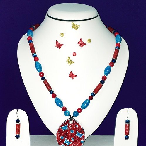 Neck piece set of red tube and  blue cone beads with large pendant