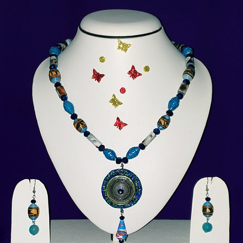 Neck piece set of multi shaped beads with matching ear rings