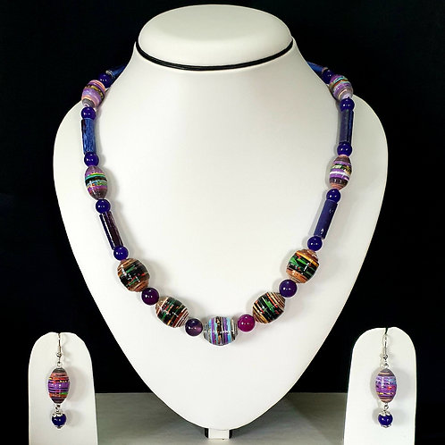 Indigo Blue Overtones Short Set with Round Beads and Matching Earrings