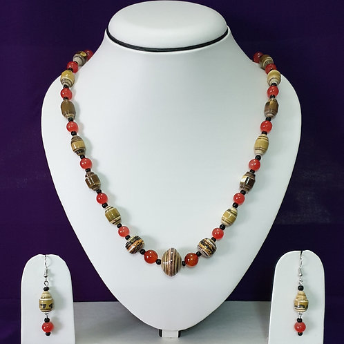 Cherry Red and Brown Alternating Beads Long Set with Matching Earrings
