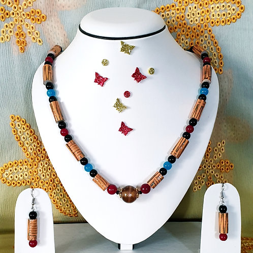 Neck piece set of golden brown tube beads with matching ear rings