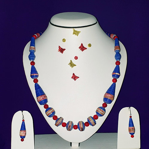 Neck piece set of lavender and red cone beads with matching ear rings