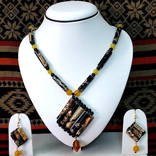 Long Beads with Diamond Pendant & Diamond Earrings