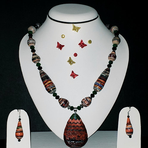 Neck piece set of  multi colour cone  beads  and large pendant with ear rings