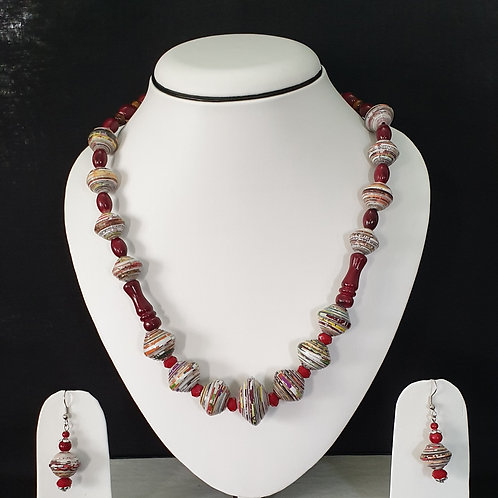 Red Colored Long beads Set with Matching Earrings