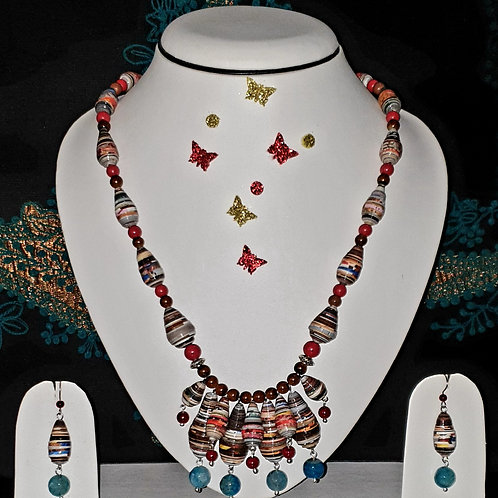 Neck piece set of multicolour beads and cluster pendant with matching ear rings