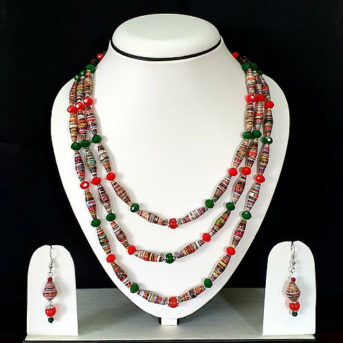 Three Layered Green and Red Beads Set with Matching Earrings