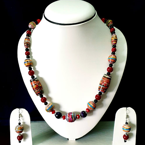 Red Overtones Barrel Beads with Matching Earrings