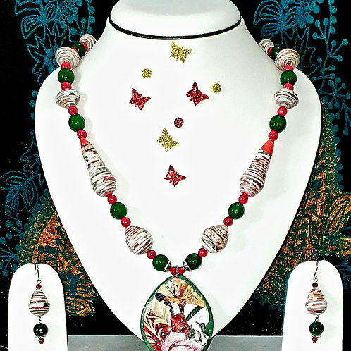 Neck piece set of multicolour  beads and pendant with matching ear rings
