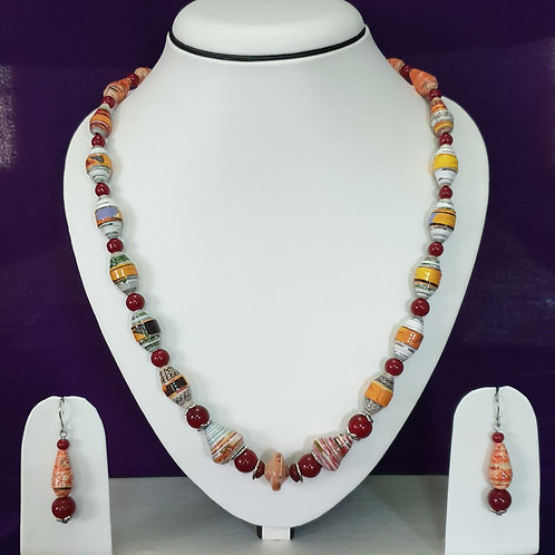 Red & Brown Set with Matching Earrings