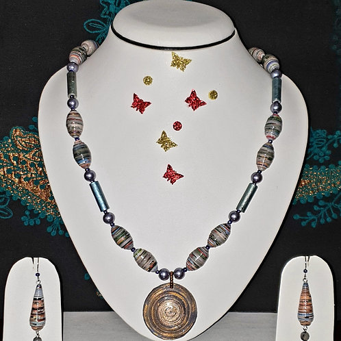 Neck piece set of light tone beads and disk pendant with matching ear rings