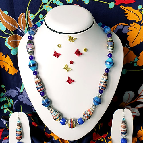 Neck piece set of multi colour beads with matching ear r