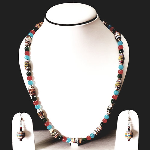 Small Round Multi Colored Beads Long Set