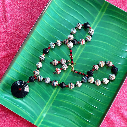 Neck piece set of round  beads and black disc pendent with mathing ear rings