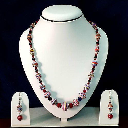 Pink Toned Long set with Disk Beads and Drop Earrings