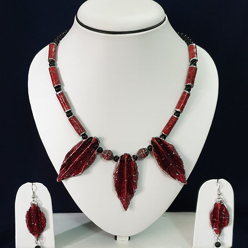 Dark Red Set with Leaf Pendants