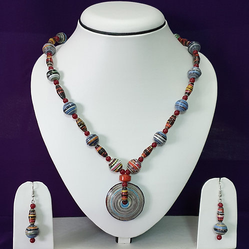 Large Disk Pendant Hobo Set with Multi Colored Beads