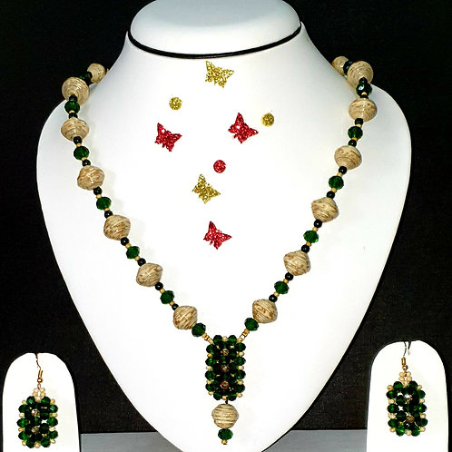 Neck piece set of yellow and green beads and  pendant with matching ear rings