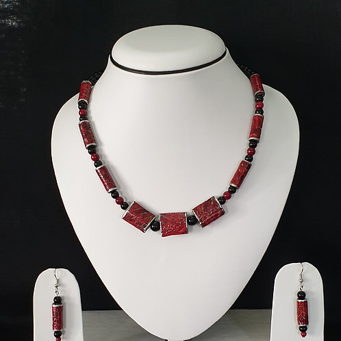 Neck Piece set of Tube Shaped Beads with Matching Earrings