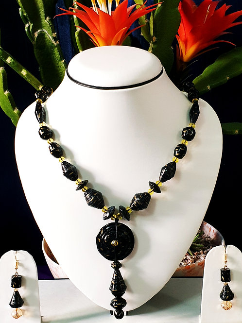 Black Overall Set with Disk Pendant and Golden Spacers