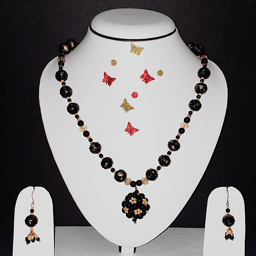 Neck piece set of black beads  and cluster ball pendant with matching ear rings