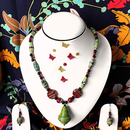 Neck piece set of multicolour beads and green pendant with matching ear rings