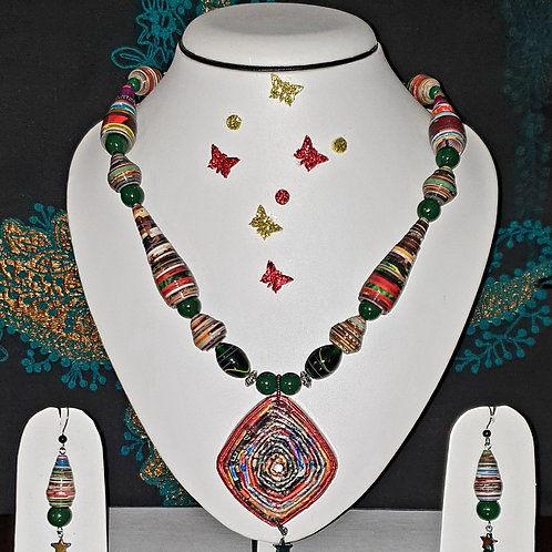 Neck piece set of multicolour beads and large pendant with matching ear rings