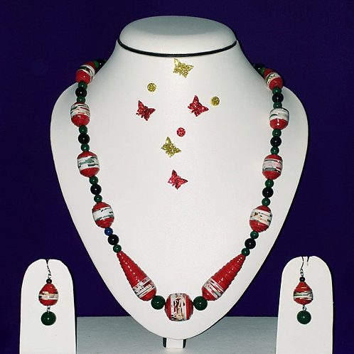 Neck piece set of red and white cone beads with matching ear rings