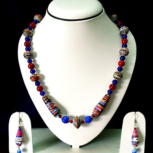 Blue & Red Medium Set with Matching Earrings